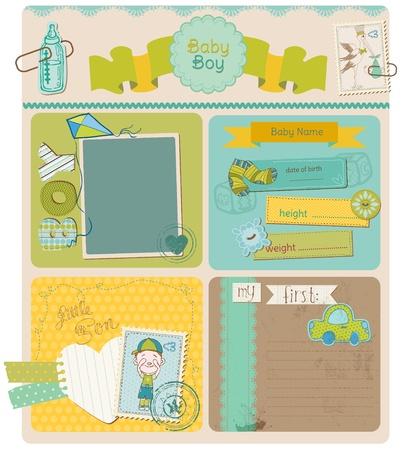 Ilustración de Scrapbook Design Elements - Baby Boy Cute Set - Imagen libre de derechos