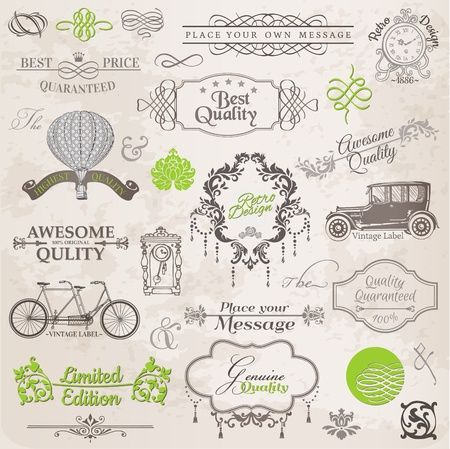Ilustración de Vector Set: Calligraphic Design Elements and Page Decoration, Vintage Frame collection with Flowers - Imagen libre de derechos