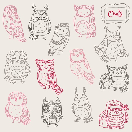 Various Owl Doodle Collection - hand drawn - in vectorのイラスト素材