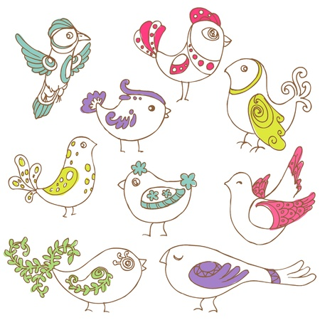 Set of different cute birds - for design and scrapbook - in vectorのイラスト素材