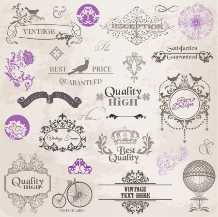 Vector Set  Calligraphic Design Elements and Page Decoration, Vintage Frame collection with Flowers