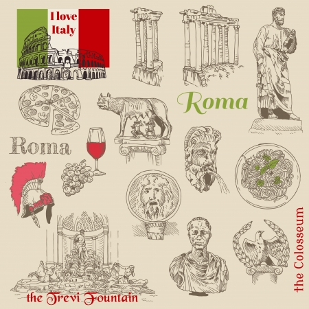 Set of Rome doodles - for design and scrapbook - hand drawn