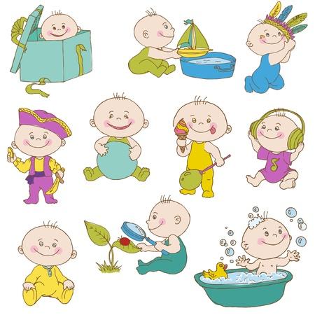 Illustration for Baby Boy Doodle Set - for design, scrapbook, shower or arrival cards  - Royalty Free Image