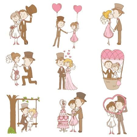 Foto de Bride and Groom - Wedding Doodle Set - Design Elements for Scrapbook, Invitation - Imagen libre de derechos