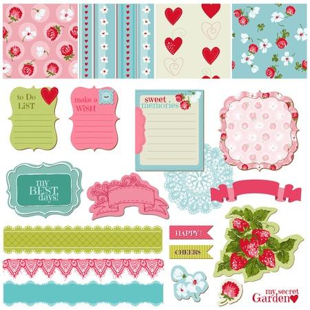 Ilustración de Scrapbook Design Elements - Vintage Flowers and Strawberry Set - in vector - Imagen libre de derechos