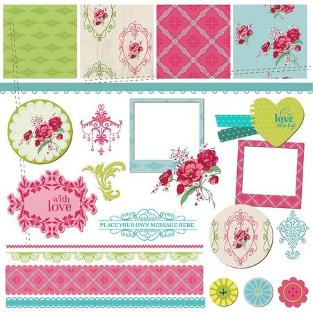 Ilustración de Scrapbook Design Elements - Vintage Flower Card with Photo Frame - in vector - Imagen libre de derechos