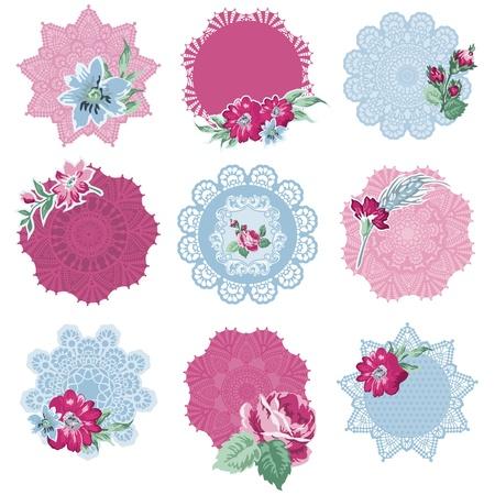 Ilustración de Scrapbook Design Elements - Tags with Flowers - in vector - Imagen libre de derechos