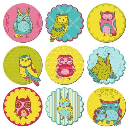 Ilustración de Scrapbook Design Elements - Tags with Cute Owls  - Imagen libre de derechos