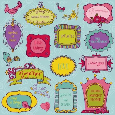 Ilustración de Sweet Doodle Frames with Birds and Flower Elements - Imagen libre de derechos