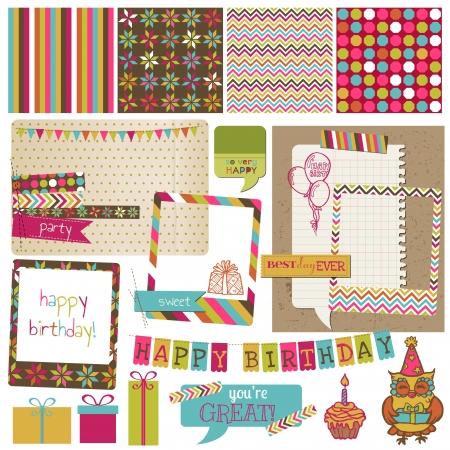 Ilustración de Retro Birthday Celebration Design Elements - for Scrapbook, Invitation in vector - Imagen libre de derechos