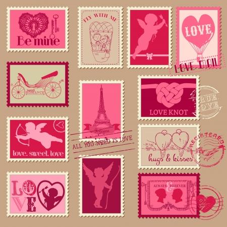 Vintage Love Valentine Stamps - for design, invitation, scrapbook