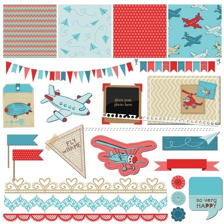 Ilustración de Scrapbook Design Elements - Baby Boy Plane Elements - in vector - Imagen libre de derechos