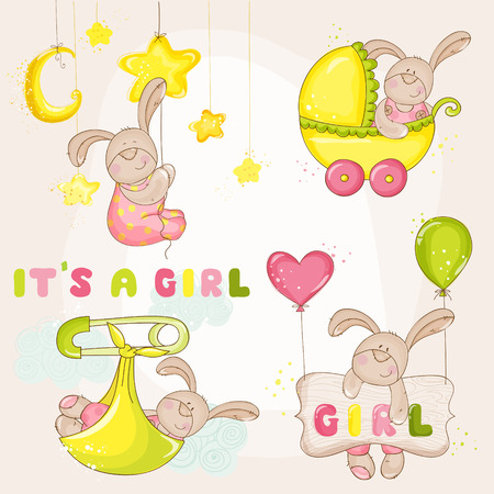 Illustration for Baby Bunny Set - for Baby Shower or Arrival Card - in vector - Royalty Free Image