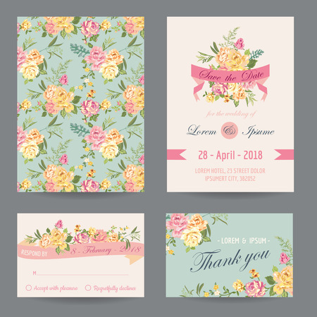 Invitation/Congratulation Card Set - for Wedding, Baby Shower - in vector
