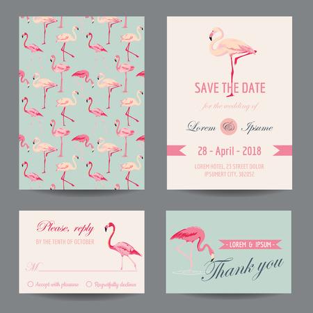 Invitation/Congratulation Card Set - Flamingo Theme - in vector