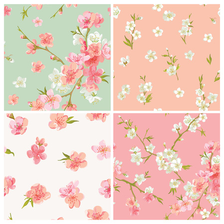 Illustration pour Set of Spring Blossom Flowers Background - Seamless Floral Shabby Chic Patterns - in vector - image libre de droit