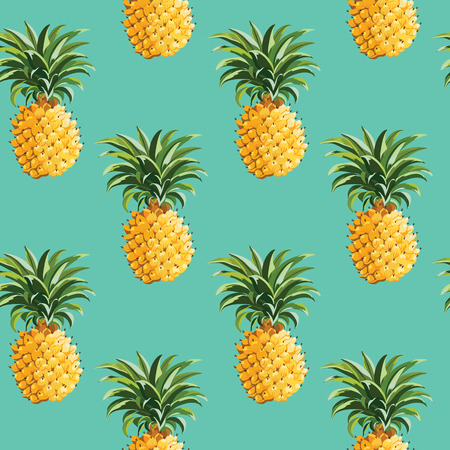 Foto de Pineapples and Tropical Leaves Background Vintage Seamless Pattern  in vector - Imagen libre de derechos