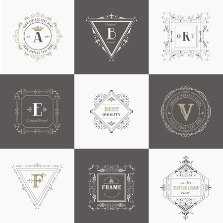 Vector Set: Vintage Frames and Banners, Calligraphic Design Elements and Monograms