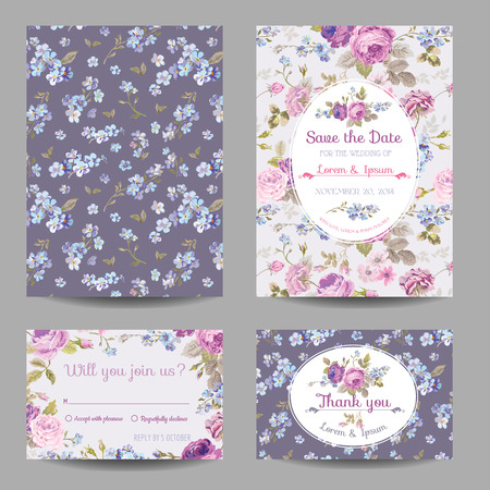 Invitation or Congratulation Card Set - for Wedding, Baby Shower - in vector