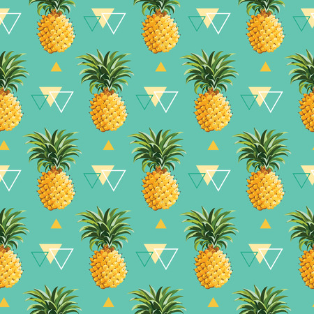 Foto de Geometric Pineapple Background - Seamless Pattern in vector - Imagen libre de derechos