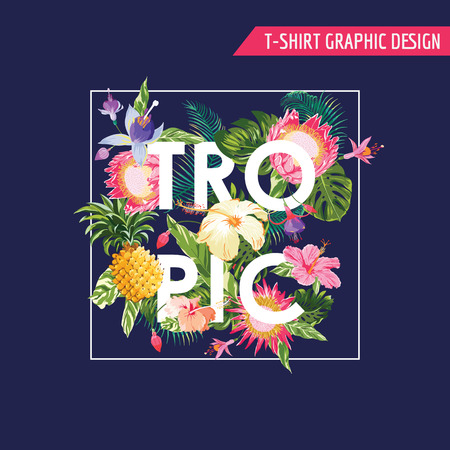 Ilustración de Tropical Flowers Graphic Design - for t-shirt, fashion, prints - in vector - Imagen libre de derechos