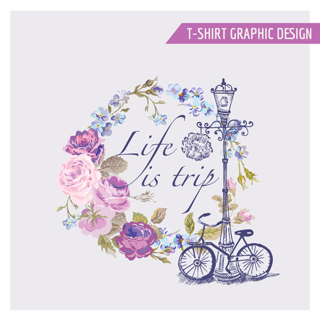 Ilustración de Floral Shabby Chic Graphic Design - for t-shirt, fashion, prints - in vector - Imagen libre de derechos