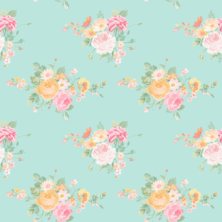 Ilustración de Vintage Flowers Background - Seamless Floral Shabby Chic Pattern - in vector - Imagen libre de derechos