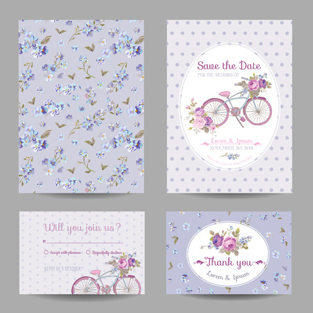 Ilustración de Invitation or Greeting Card Set - for Wedding, Baby Shower - in vector - Imagen libre de derechos