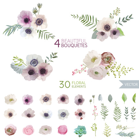 Illustration pour Flowers and Leaves - in Watercolor Style - vector - image libre de droit