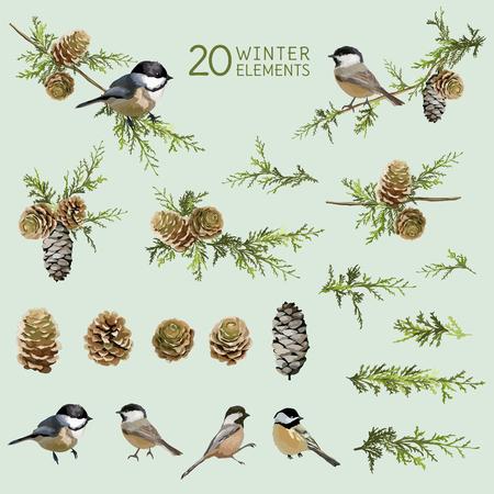 Illustration pour Retro Birds and Winter Elements- in Watercolor Style - vector - image libre de droit