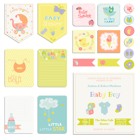 Illustration for Baby Shower or Arrival Set - Tags, Banners, Labels, Cards - in vector - Royalty Free Image