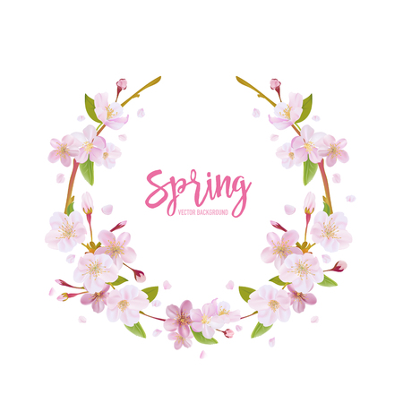 Cherry Blossom Spring Background - with Floral Wreath in vector