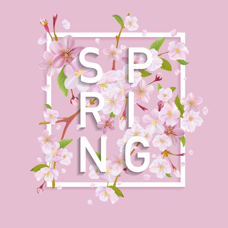 Illustration for Floral Spring Graphic Design - - with Cherry Blossom Tree - for t-shirt, fashion, prints - in vector - Royalty Free Image