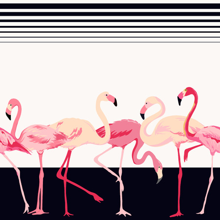 Illustration for Flamingo Bird Background - Retro Seamless Pattern - in vector - Royalty Free Image