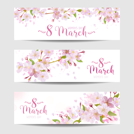 Illustration for 8 March - Women's Day Greeting Card Template - Spring Banner - in vector - Royalty Free Image