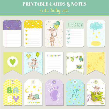 Illustration for Baby Boy Card Set - with Cute Giraffe - for birthday, baby shower, party, design - in vector - Royalty Free Image