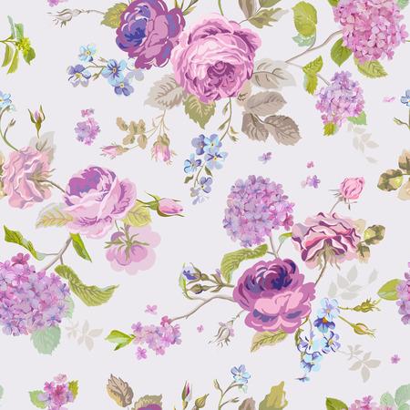 Illustration pour Spring Flowers Background - Seamless Floral Shabby Chic Pattern - image libre de droit