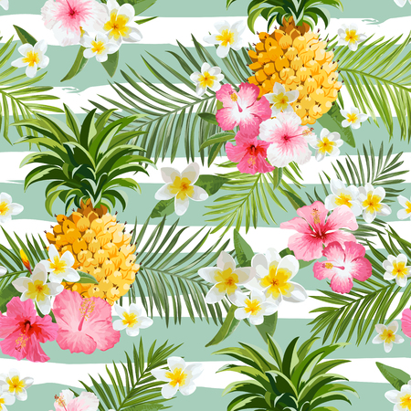 Illustration pour Pineapples and Tropical Flowers Geometry Background - Vintage Seamless Pattern - image libre de droit