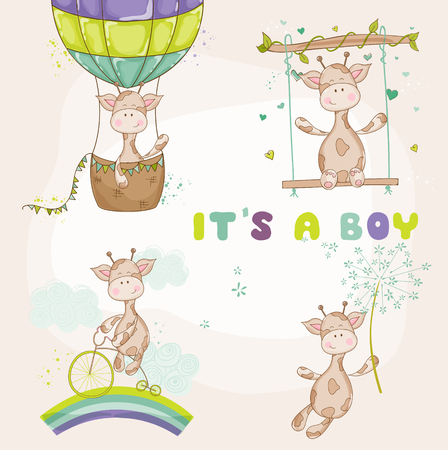 Illustration for Baby Giraffe Set - Baby Shower or Arrival Card - Royalty Free Image