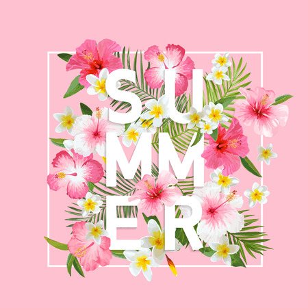 Foto de Tropical Flowers and Leaves Background. Summer Design. Vector. T-shirt Fashion Graphic. Exotic Background. - Imagen libre de derechos