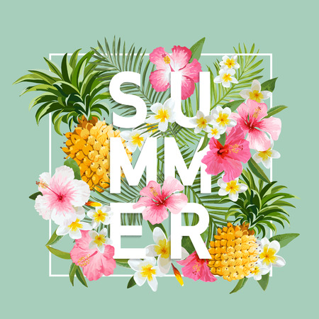 Ilustración de Tropical Flowers and Leaves Background. Summer Design. Vector. T-shirt Fashion Graphic. Exotic Background. - Imagen libre de derechos