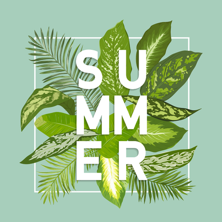 Ilustración de Summer Design. Tropical Leaves Background. Vector. T-shirt Fashion Graphic. Exotic Background. - Imagen libre de derechos