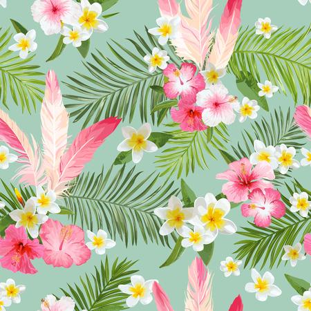 Illustration pour Tropical Flowers Background. Vintage Seamless Pattern. Vector Pattern - image libre de droit