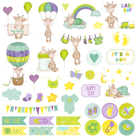 Illustration pour Baby Boy Giraffe Scrapbook Set. Vector Scrapbooking. Decorative Elements. Baby Tags. Baby Labels. Stickers. Notes. - image libre de droit