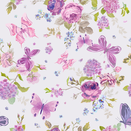 Illustration pour Spring Flowers Background with Butterflies- Seamless Floral Shabby Chic Pattern - in vector - image libre de droit
