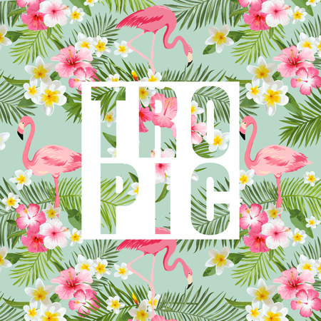 Illustration for Tropical Flowers and Leaves. Tropical Flamingo Background. Vector Background. Exotic Graphic Background. Tropical Banner. - Royalty Free Image