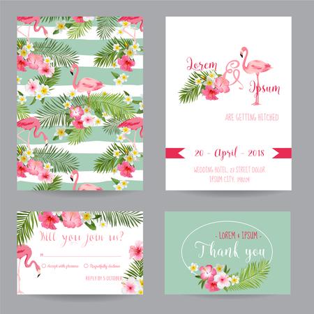 Illustration pour Save the Date - Wedding Invitation or Congratulation Card Set - Tropical Flamingo Theme - in vector - image libre de droit