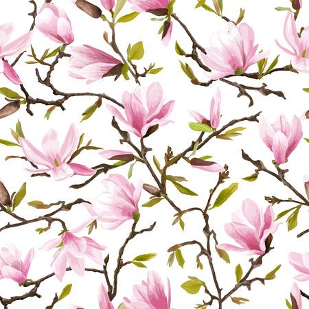 Illustration pour Seamless Floral Pattern. Magnolia Flowers and Leaves Background. Exotic Flower. Vector - image libre de droit