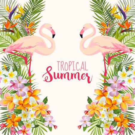 Tropical Flowers. Flamingo Bird. Tropical Background. Tropical Vector. Floral Background. Summer Background. T-shirt Design.