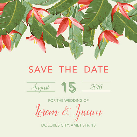 Illustration pour Wedding Invitation Card - with Tropical Flowers Background - Save the Date - in vector - image libre de droit